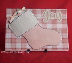 Handmade Christmas Card, Pink Stocking £1.75