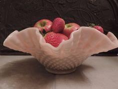 Fenton Pink Hobnail Milk Glass Bowl Mid by Fenton Milk Glass, Fenton Glassware, Vintage Glassware, Pink Wedding Decorations, Pink Bowls, Pink Milk, Rose Pastel, Serving Bowls, Vintage Table