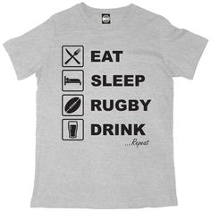 EAT SLEEP RUGBY DRINK REPEAT MENS RUGBY SIX NATIONS/WORLD CUP T-SHIRT – Batch1