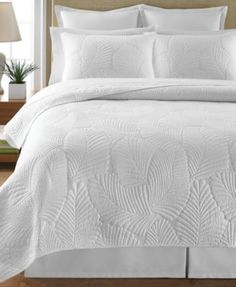 CLOSEOUT! Martha Stewart Collection Atlantic Palm White Quilts - Quilts & Bedspreads - Bed & Bath - Macy's