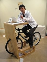 *PIT IN* is a table for a bicycle whose saddle functions as a chair. Sitting on the saddle of bicycle,for example, you can take a coffee break,check e-mails by lap-top, and so on. This table will open up a new life style of bicycle. Material Plywood t18 Dimensions L71xD90xH115cm Nominated for Design Report Award 2009 in Milano Salone Satellite stuff-i-want-to-make