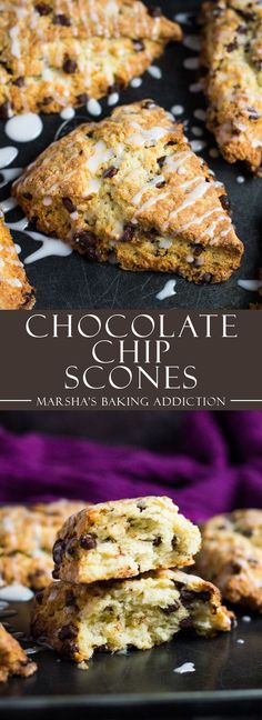 Lower Excess Fat Rooster Recipes That Basically Prime Chocolate Chip Scones-Deliciously Moist, Fluffy And Tender Vanilla Scones Stuffed Full Of Chocolate Chips, And Drizzled With A Sweet Glaze Brunch Recipes, Sweet Recipes, Breakfast Recipes, Dessert Recipes, Dessert Ideas, Breakfast Ideas, Easy Recipes, Keto Recipes, Healthy Recipes