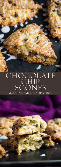 Chocolate Chip Scones | http://marshasbakingaddiction.com /marshasbakeblog/