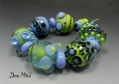 SRA+Handmade+Lampwork+Beads+DONNA+MILLARD+blue+by+DonnaMillard