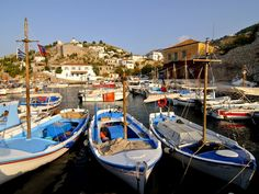 size: Photographic Print: Small Boats in the Harbour of the Island of Hydra, Greek Islands, Greece, Europe : Going On Holiday, Small Boats, Small Island, Stretched Canvas Prints, Greek Islands, Professional Photographer, Edinburgh, Greece, To Go
