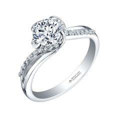 Ct Round Cut Diamond Maple Leaf Engagement Ring In Solid 14 K White Gold Leaf Engagement Ring, Platinum Engagement Rings, Eternity Ring Diamond, Diamond Solitaire Rings, Leaf Jewelry, White Gold Diamonds, Fashion Rings, Diamond Cuts, Beaverbrooks
