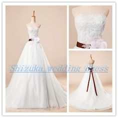 2014 new belt and handmade flowers decorated white lace wedding dress Strapless neckline court train bridal dress