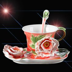 Fine Art Porcelain Ceramic Rosa Shape Coffee Tea Set Cup Sauce Spoon + Gift Box