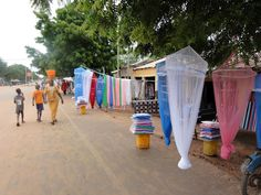 Locally made mosquito nets in Farafenni, The Gambia