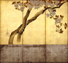 酒井抱一 桜花図屏風Sakai Hoitsu flower figure. One of a pair of two-panel Japanese folding screens. Miho Museum.