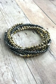 Multi Wrap Bracelet or Long Necklace, Small Stone Hematite Jewelry, Faceted Beaded Necklace