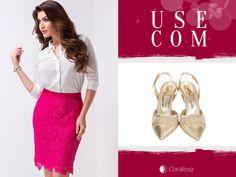 Combine essa linda saia com camisa branca e sapato de bico fino!
