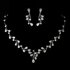 Lovely new jewelry style! Rhodium Plated AAA CZ Jewelry Set -  .Affordable Elegance Bridal -