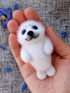 April, baby seal, felted collectible miniature, OOAK wool toy