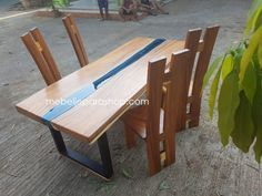 meja makan trembesi river kaca Wood River, Picnic Table, Wood Table, Dining Set, Furniture, Home Decor, Dinning Set, Decoration Home, Timber Table