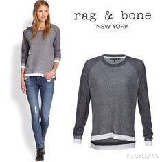 rag & bone brenda waffle knit sweater rag & bone/JEAN Brenda sweater in combo knit. Boat neckline. Long raglan sleeves. Relaxed fit. Pullover style. Cotton/viscose. There is a mall spot of yellow stain on the left cuffs as seen on the last pic. rag & bone Sweaters