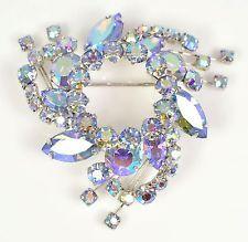 Vintage Brooch SHERMAN 1950s Blue Aurora Borealis & Silvertone Bridal Jewellery