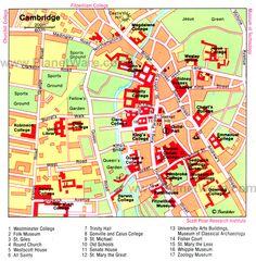 Cambridge Map - Tourist Attractions