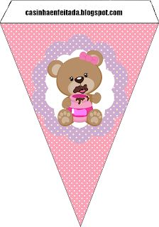 party kit pink ursinha free to print Baby Shower Oso, Regalo Baby Shower, Teddy Bear Party, Teddy Bear Birthday, Baby Shower Princess, Baby Princess, Party Kit, Party Packs, Imprimibles Baby Shower