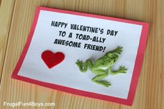 Toad-ally Awesome Frog Valentines