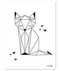 Drawing Portraits - Affiche enfant renard noir et blanc: Discover The Secrets Of Drawing Realistic Pencil Portraits.Let Me Show You How You Too Can Draw Realistic Pencil Portraits With My Truly Step-by-Step Guide. Geometric Fox, Geometric Drawing, Geometric Origami, Origami Design, Geometric Cat Tattoo, Pencil Drawings, Art Drawings, Drawing Portraits, Pencil Art