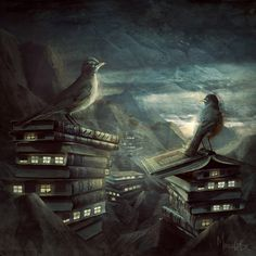 """""""Insomniac's Nest"""" is by Marcela Bolivar, whose work is on deviantART. It's hard to know if this is the natural result of a culture that elevates books to the ultimate art form or a distressing use of books by a people who don't know what they're really for."""
