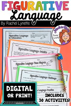 These activities are available in DIGITAL or paper formats, making them the perfect resources for learning to identify and write seven common types of figurative language: simile, metaphor, idioms, hyperbole, personification, onomatopoeia, and alliteration. Works with Google Classroom! Writing Lesson Plans, Writing Lessons, Writing Resources, Teaching Writing, Writing Activities, Reading Workshop, Reading Skills, Figurative Language Activity, Figure Of Speech