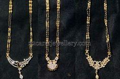 Jewellery Designs: Black Beads with Diamond Lockets