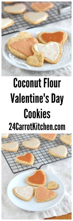 Coconut Flour Valentine's Day Heart Cookies  #justeatrealfood #24carrotkitchen