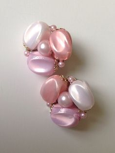 Vintage Pastel Pink, Lavender & White Clip On Earrings Marked Japan - Free Shipping on Etsy, $7.00