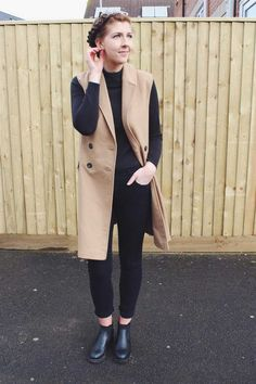 Primark: #Primania Street Style - Halcyon velvet wearing roll neck, longline waistcoat, black skinny jeans and ankle boots