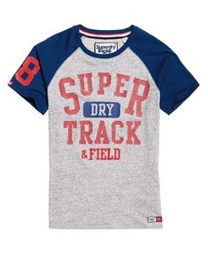 Shop Superdry Mens Track & Field Baseball T-Shirt in Grey Marl/sonic Blast Blue. Buy now with free delivery from the Official Superdry Store. Sonic Blast, Baseball T Shirts, Superdry Mens, Great T Shirts, Track And Field, Shirt Designs, Short Sleeves, Shopping, Grey