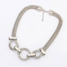 Silver Plated Plastic Necklaces & Pendants Circle Link Mesh Chain Statement Necklace Women Kolye Punk Jewjlry For Gift Party