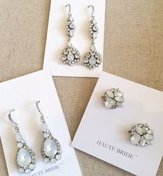 The trend at NY Bridal Market for Bridal Jewelry Spring 2016:  white opal crystal accents. Haute Bride began using white opal crystals last year initiating the trend.  Here are some of our favorites that will be arriving at Perfect Details before the end of the year (2015).  You can view all our Haute Bride Jewelry here:  https://perfectdetails.com/haute-bride-jewelry.htm