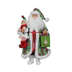 The Peppermint Candy Santa from Karen Didion Originals brings the joy of Christmas into your home. The quality of this figurine is unmatched with its hand-painted face, glass inset eyes, real mohair beard, unique fabric, and detailed accessories.