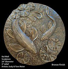 Koi Fish Wall Sculpture by SilverFrogShop on Etsy, Clay Wall Art, Ceramic Wall Art, Clay Art, Fish Sculpture, Wall Sculptures, Plaster Art, Metal Embossing, Art Nouveau, Art Deco
