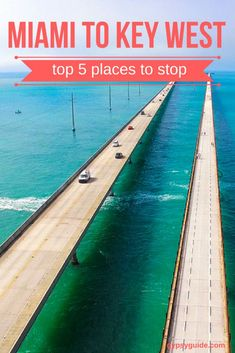Top 5 Places to Stop, Miami to Key West with GyPSy Guide Driving Tour Apps The Overseas Highway from Miami along the Florida Keys - elegant bridges span glittering expanses of blue water. We list the top 5 places on the GyPSy Guide Driving Tour App. Florida Vacation, Florida Travel, Florida Beaches, Vacation Spots, Travel Usa, Florida Keys Honeymoon, Islamorada Florida, Clearwater Florida, Visit Florida