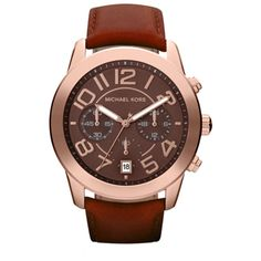 "Michael Kors ""Mercer"" rose gold and brown leather watch."