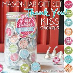 Cute way to say thanks! PRINTABLE thank you kisses... with mason jar gift tag - a jar full of thanks! #mycomputerismycanvas