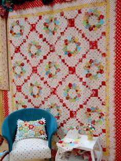 Love it so fun. dresden and yoyos fabric sugar and spice, polka dots look like Lecien basics?