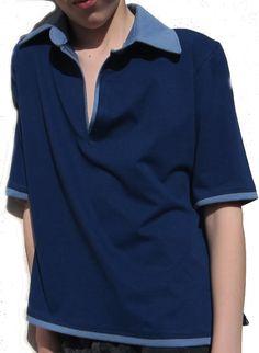 Blue Polo Shirt. Organic Fabrics. Ecofashion and sustainable. Made of 100% GOTS certificated Organic Fabrics.