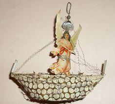 c 1900s German Germany Sebnitz Sailboat w/angel  Ornament