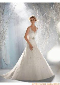 Schulterträger Bodenlang Brautkleid A-Linie 2013 aus Organza