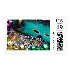 Feather Mask Happy Mardi Gras Postage Stamps