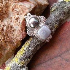 Achat & Perle, Ring, Ø 17,75 mm, 925 Sterling Silber in Uhren & Schmuck, Echtschmuck, Ringe | eBay