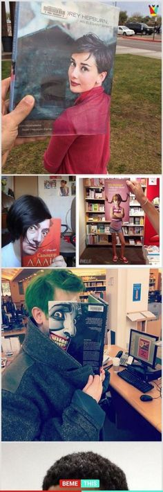 of The Most Creative And Funny Illusions Using Book Covers – Humor bilder Funny Cute, Hilarious, Wtf Funny, Super Funny, Funny Illusions, Illusion Photography, Perspective Photography, Funny Illustration, Used Books
