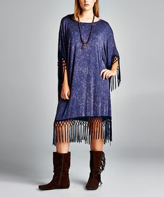 Another great find on #zulily! Navy Speckle Fringe-Trim Shift Dress - Plus #zulilyfinds