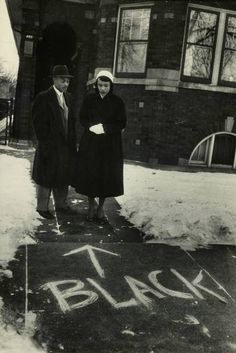 From a Francis Miller photo essay about racial discrimination in the northern US, 1957, Chicago.  The African American couple were suffering attacks after moving into a mostly white residential neighborhood.
