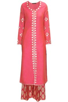 Pink and pale yellow gota patti work kurta by Amrita Thakur Shop now:http://www.perniaspopupshop.com/designers/amrita-thakur #shopnow #amritathakur #perniaspopupshop