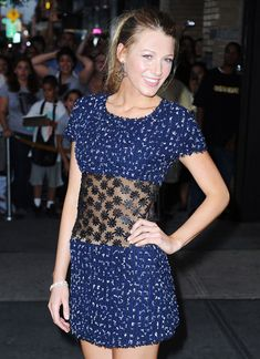 Blake Lively in a cute blue dress!